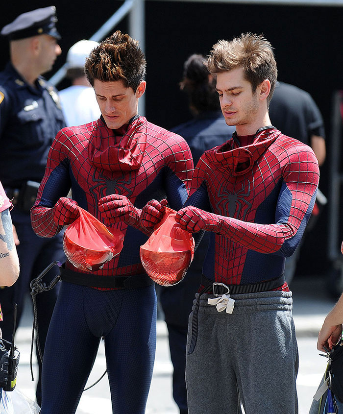 Andrew Garfield (Spider-Man) and his stunt double William Spencer