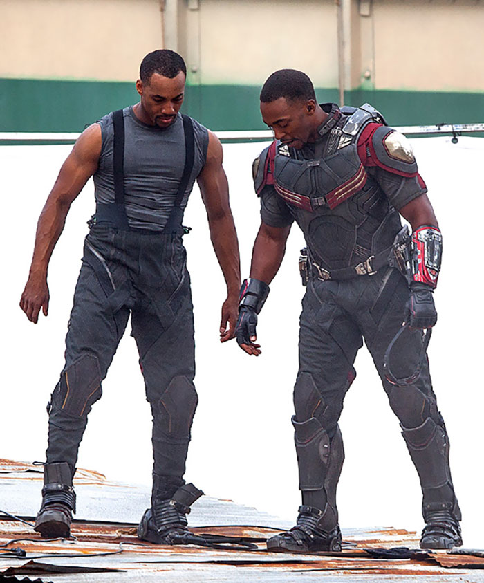Anthony Mackie (Falcon) and his stunt double Aaron Toney