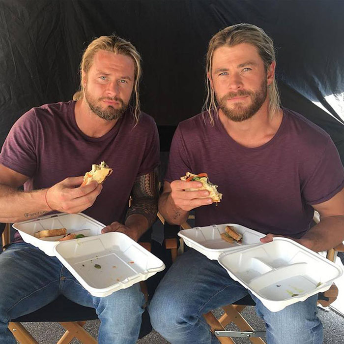 Chris Hemsworth (Thor) and his stunt double Bobby Holland