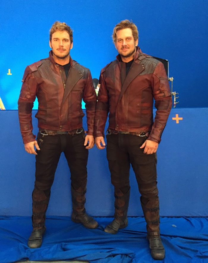 Chris Pratt (Star-Lord) and his stunt double Tony McFarr