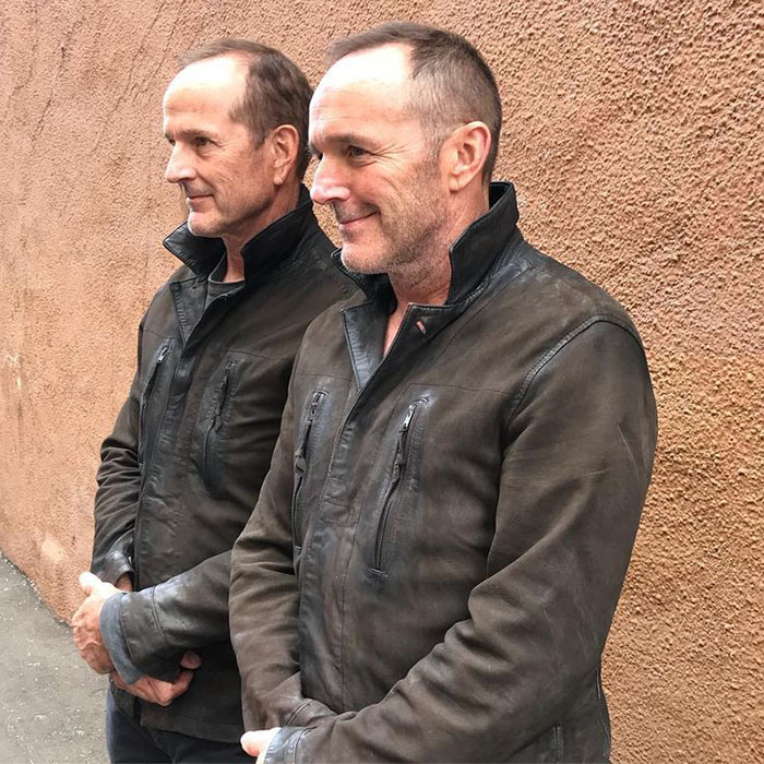 Clark Gregg (Phil Coulson) and his stunt double Dane Farwell