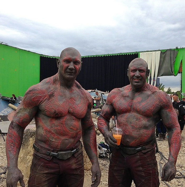 Dave Bautista (Drax) and his stunt double Rob de Groot