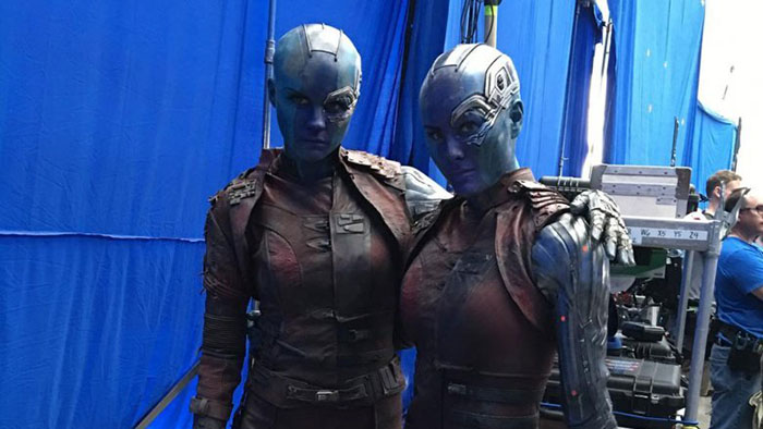 Karen Gillan (Nebula) and her stunt double Kelly Richardson