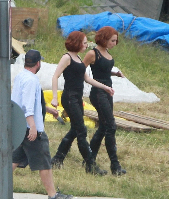 Scarlett Johansson (Black Widow) and her stunt double Heidi Moneymaker