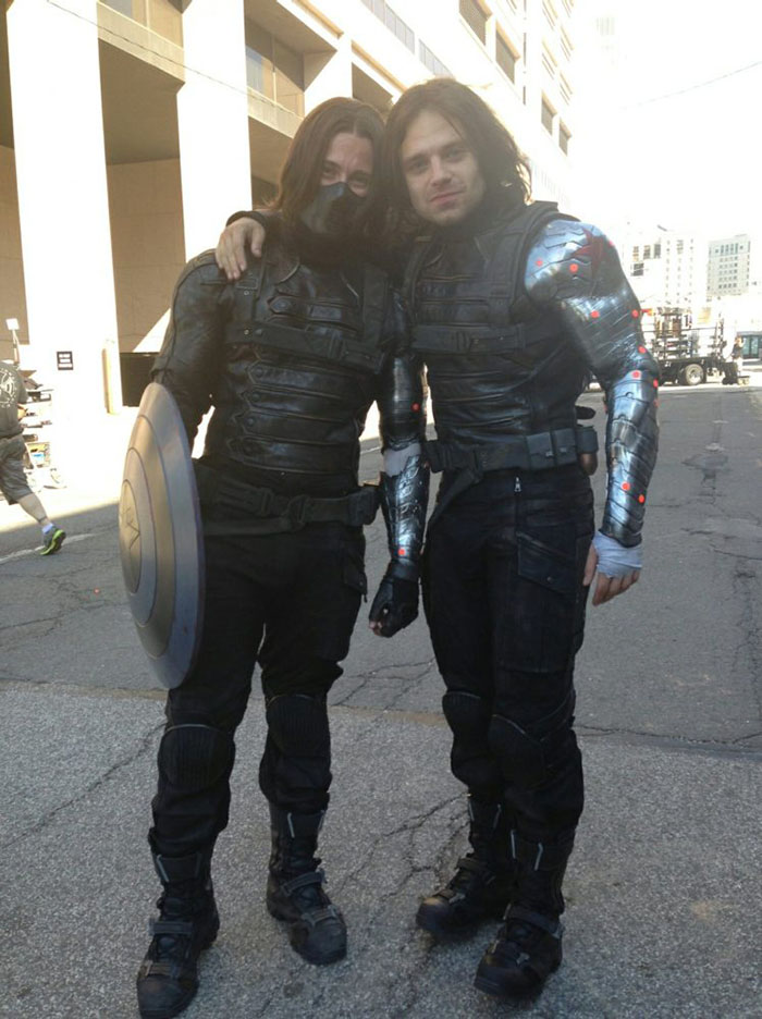 Sebastian Stan (Winter Soldier) and his stunt double James Young