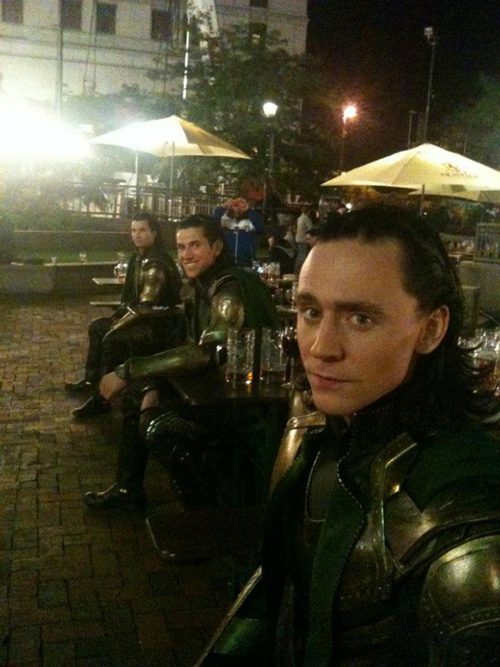 Tom Hiddleston (Loki) and his stunt doubles