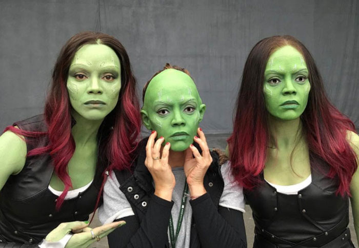 Zoe Saldana (Gamora) and her stunt double