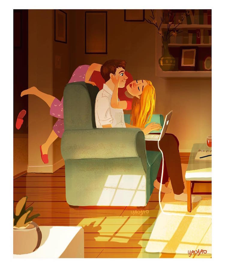 Intimate Moments of a Couple in Love Relationship Illustration
