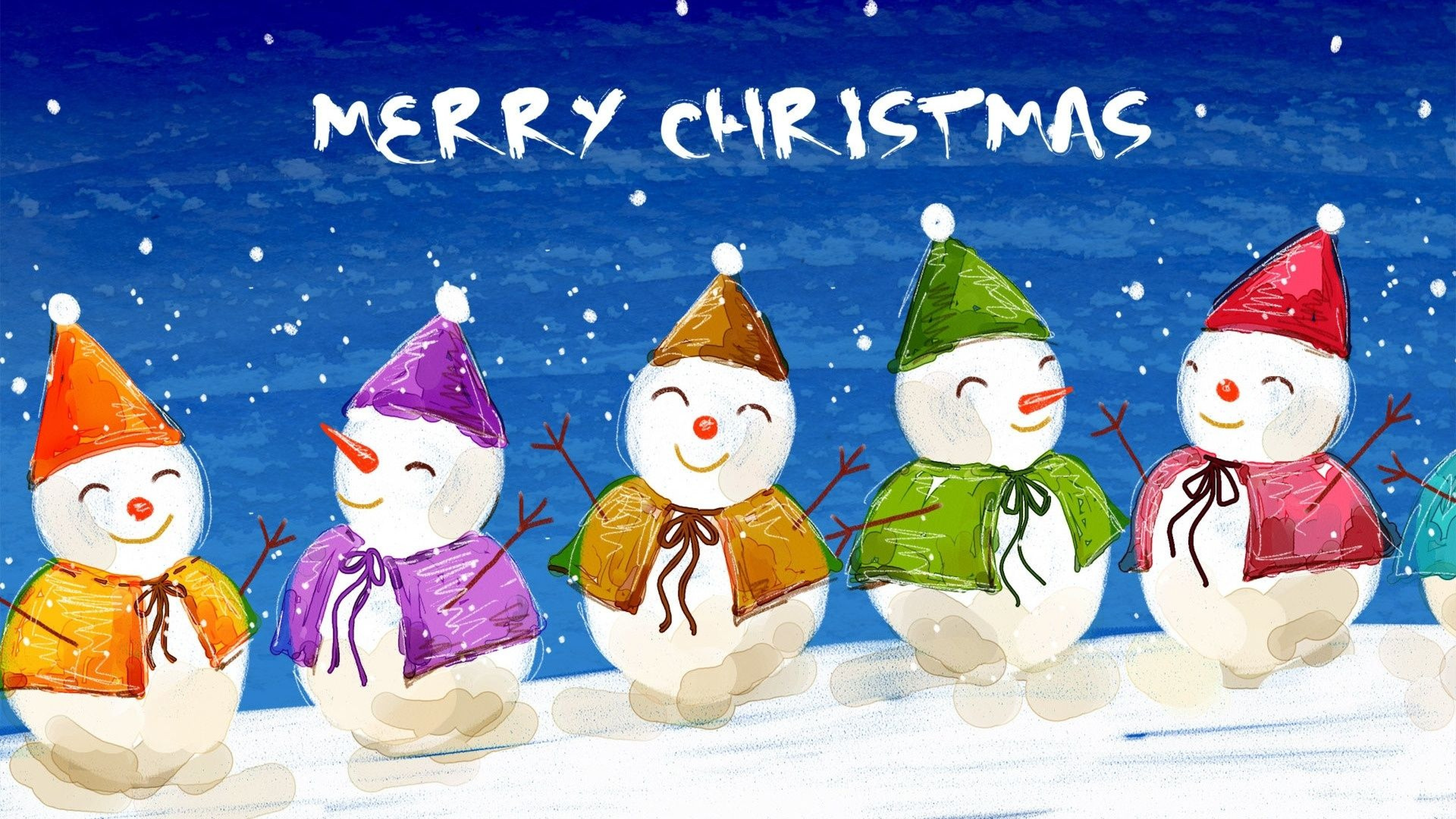 Christmas Snowman Image HD Wallpaper 3840x2160