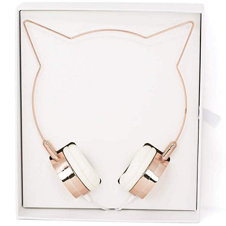 Rose Gold Cat Ear Headphones Wire Frame Headset