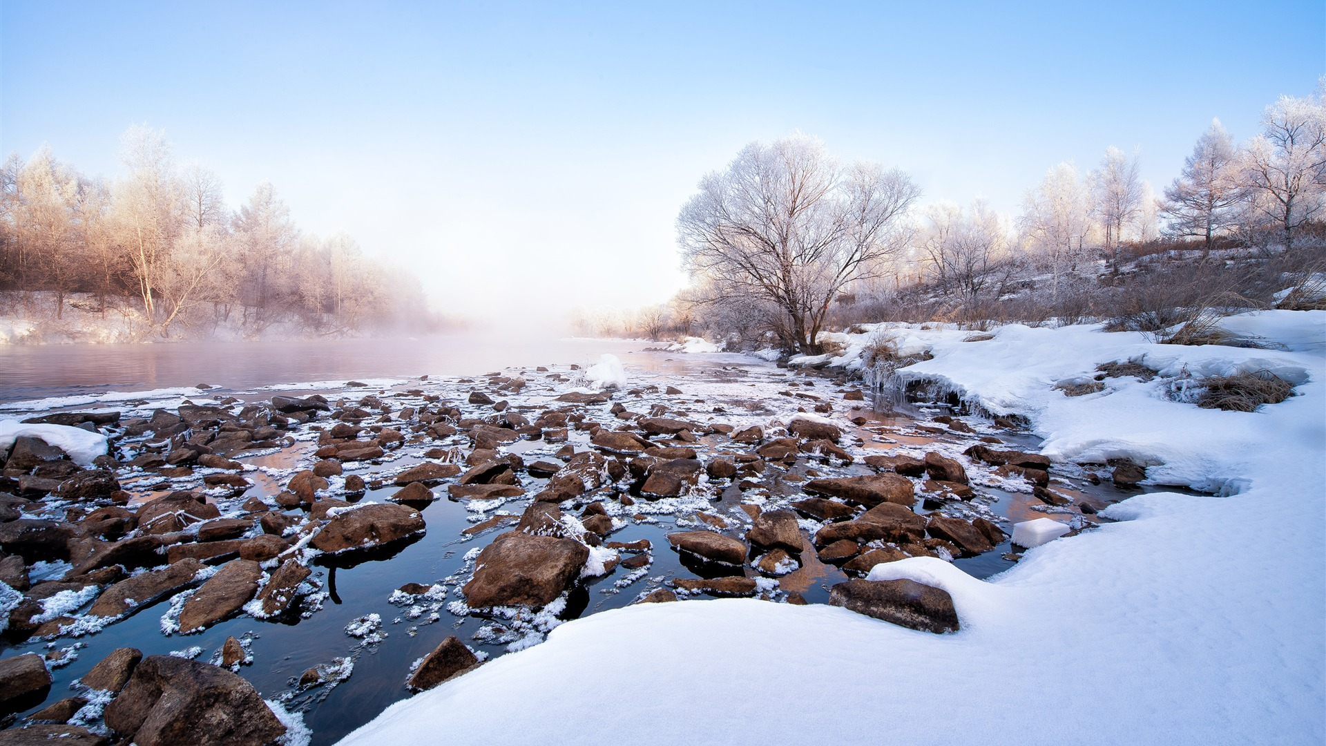 Winter Landscape Snow Covered River Morning Scenery Pictures