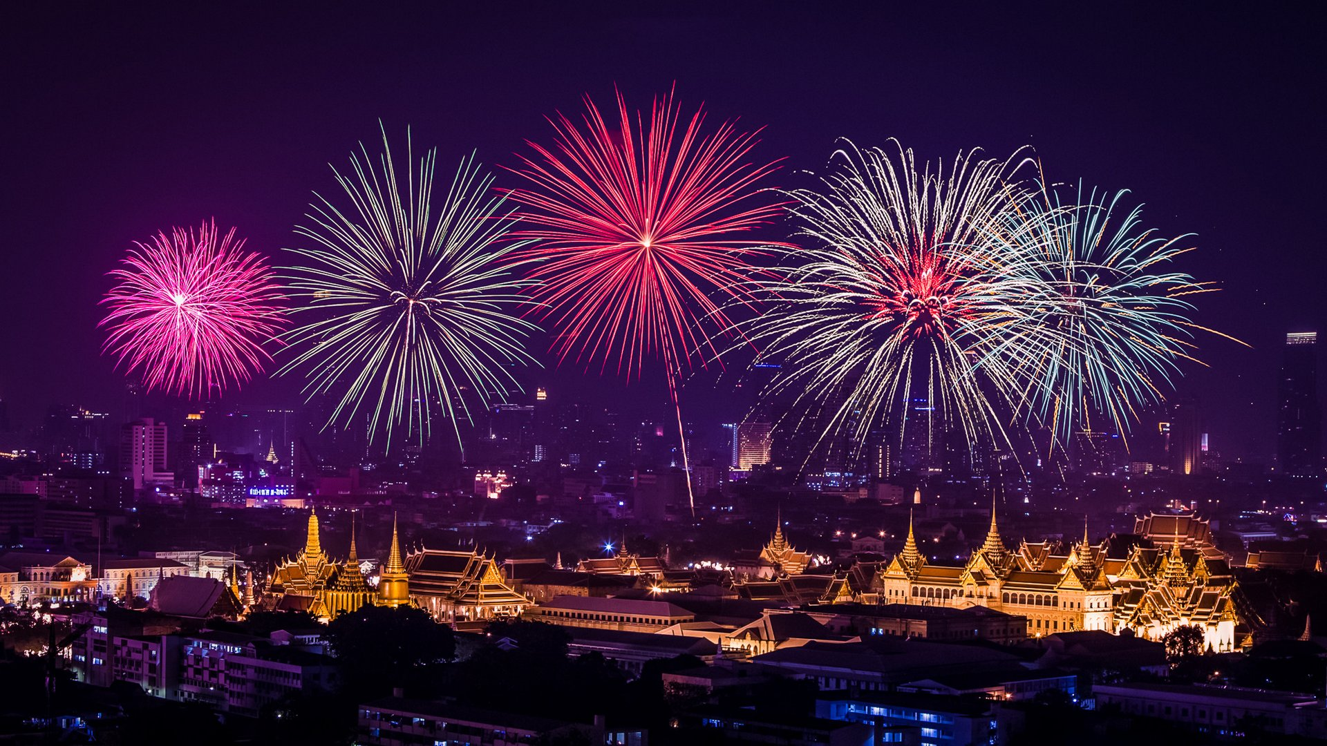 stunning new year eve celebration fireworks wallpaper 1920x1080