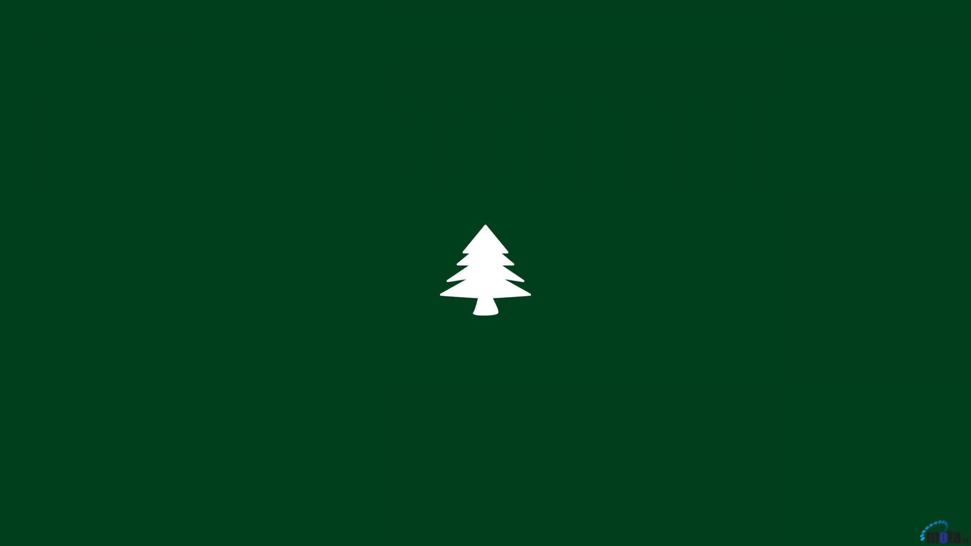 Green Background Christmas Tree Minimal 1920x1080