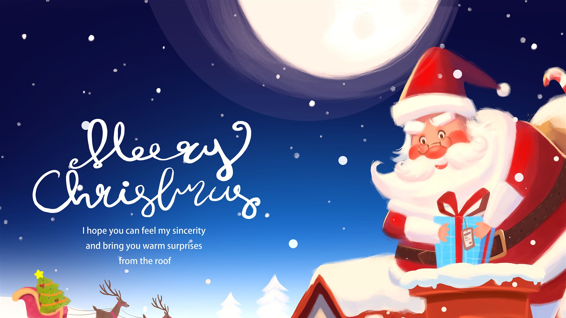 Merry Christmas Santa Wishes Picture Wallpaper HD 1920x1080