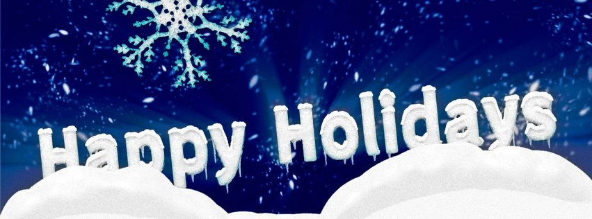 Winter happy holidays facebook cover image