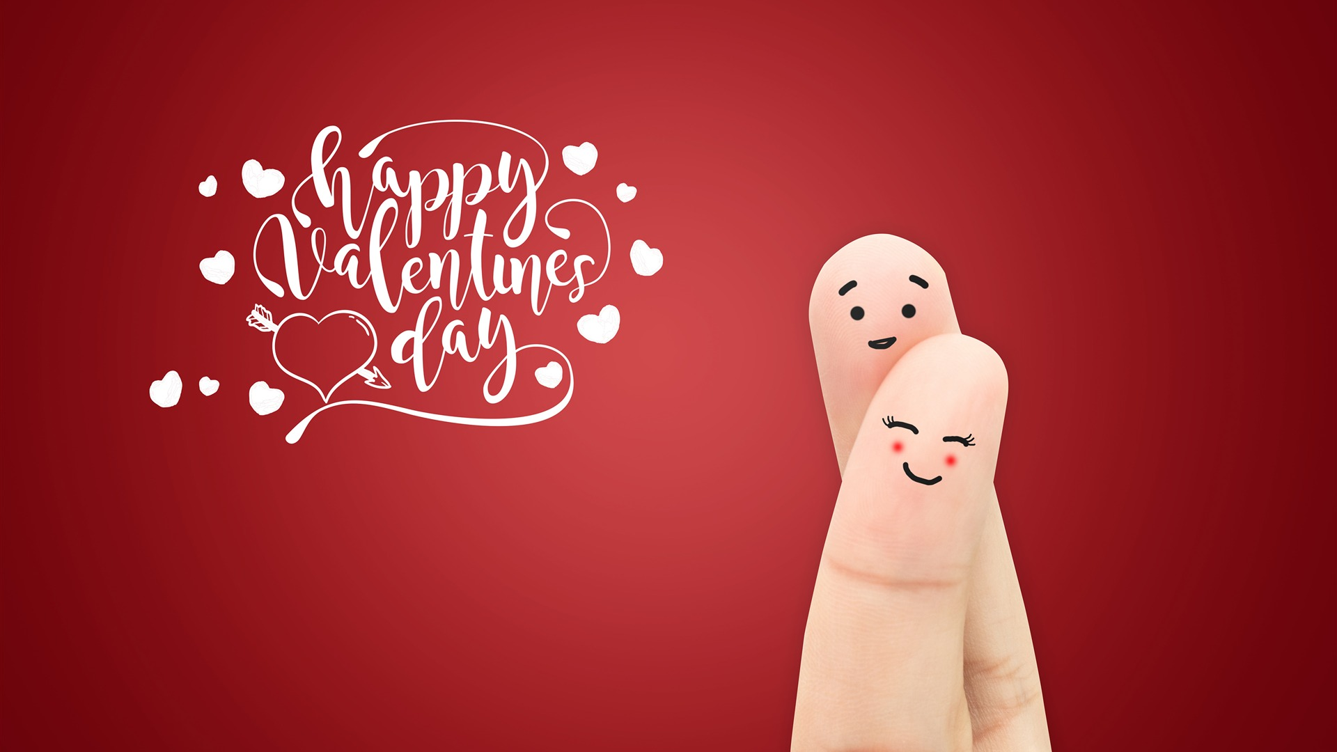 Happy Valentines Day Creative Finger Desktop Wallpaper HD