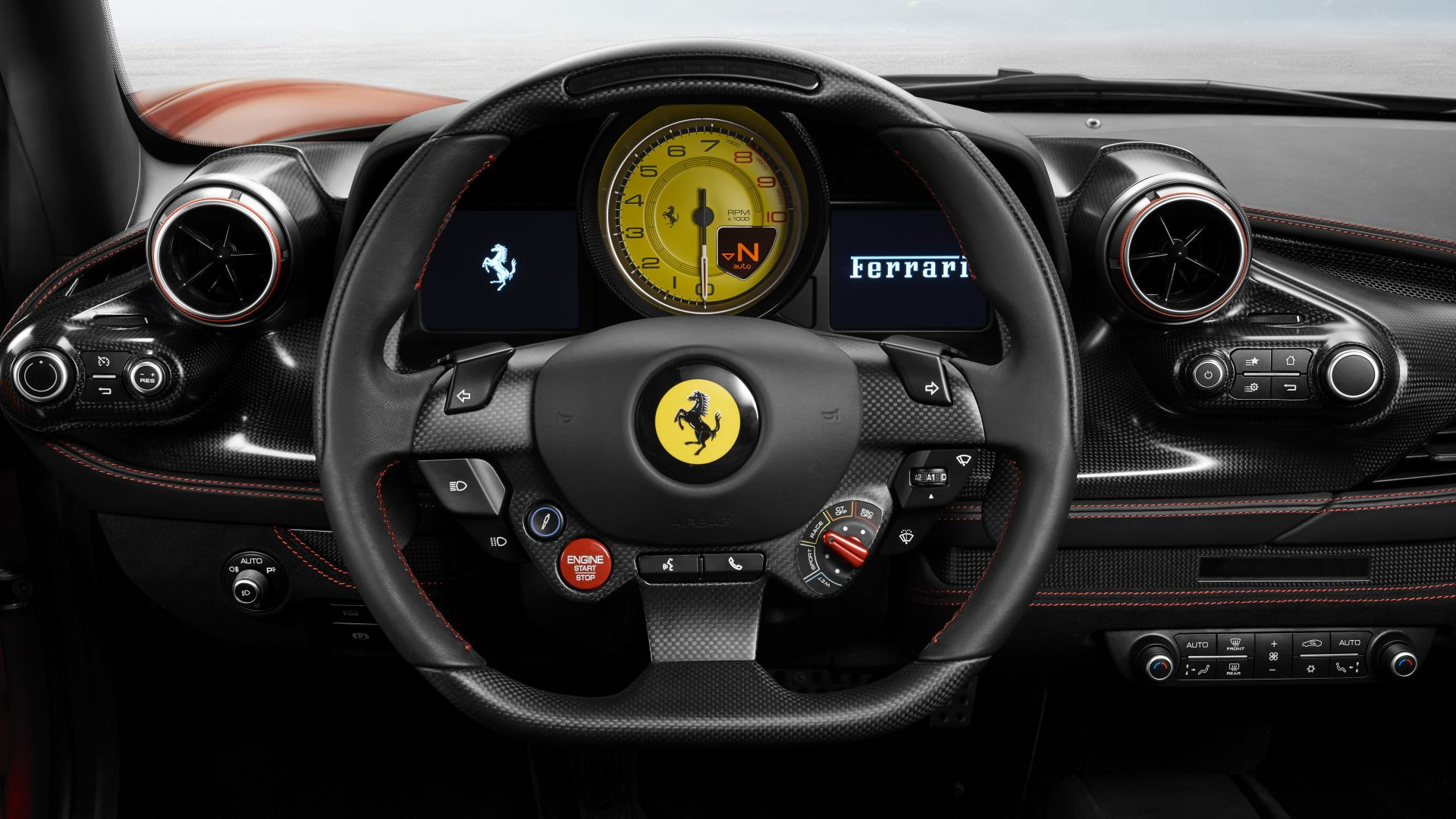 Ferrari F8 Tributo Car Interior Wallpaper HD 1920x1080