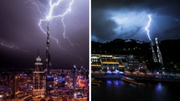 Incredible Night Cityscapes of Dubai and Singapore in the Midst of Lightning Storms