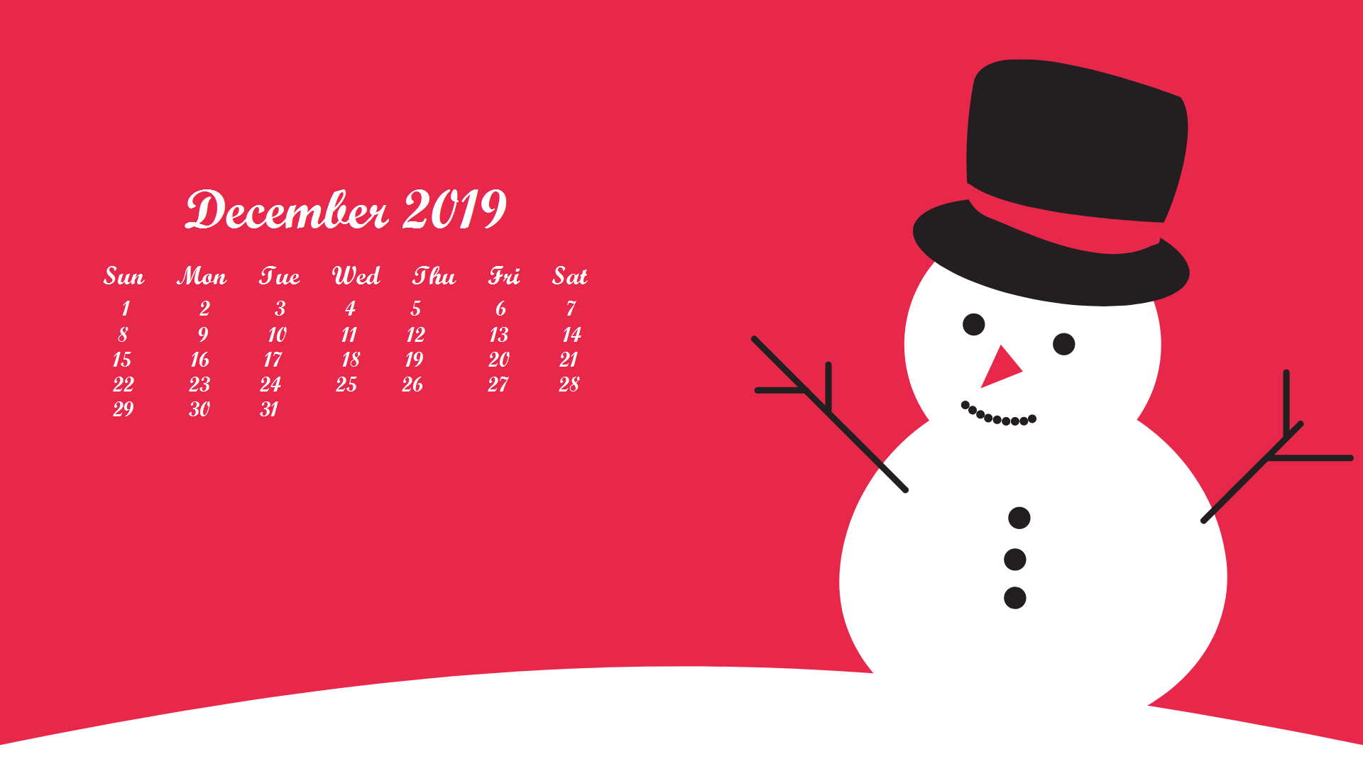 December 2019 Calendar HD Wallpaper for Desktop 1920x1080