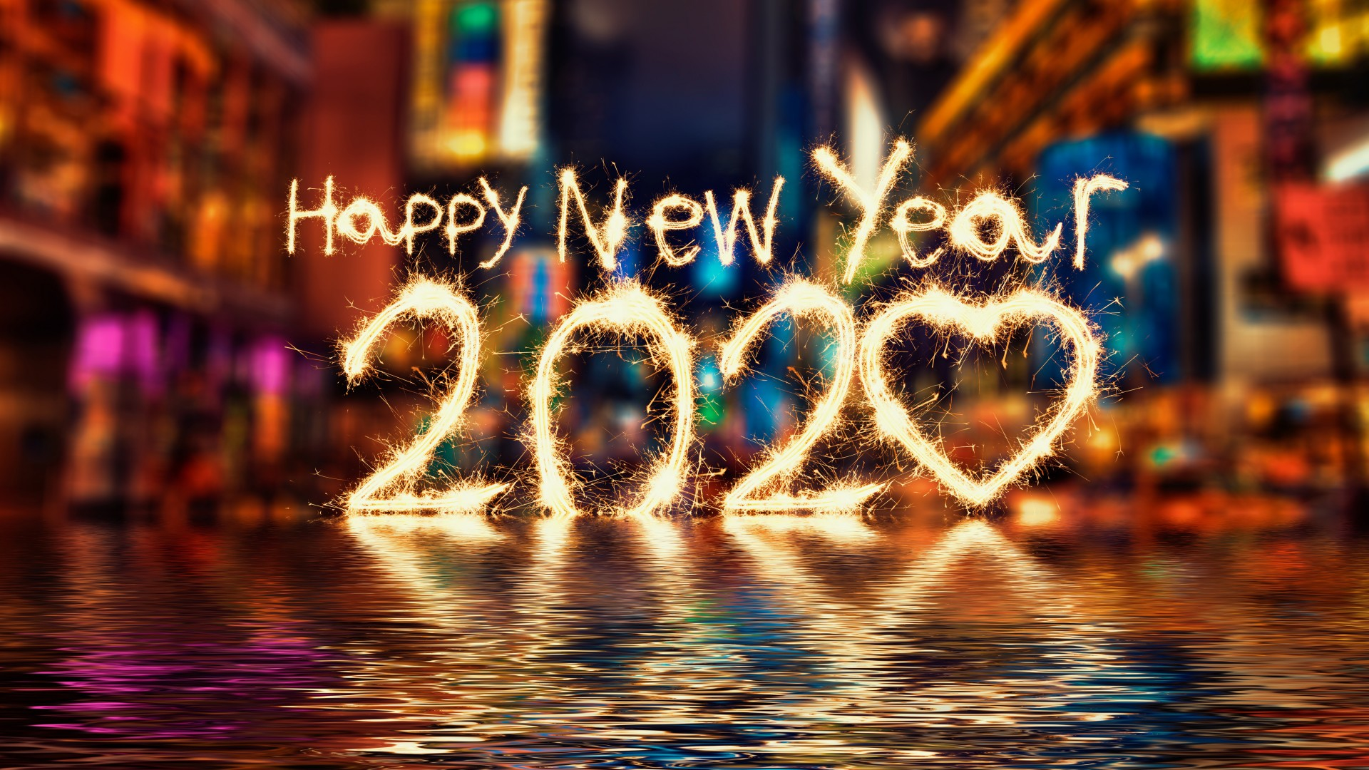 Happy New Year 2020 firework text background