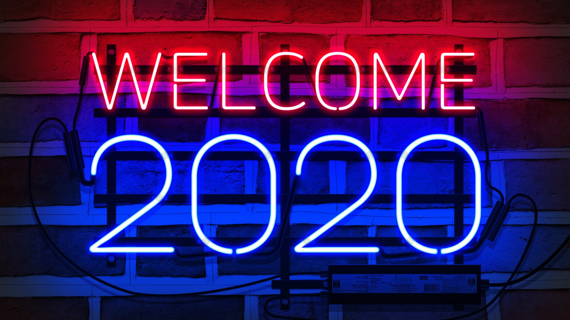 Welcome 2020 New Year Neon Light HD Wallpaper 1920x1080