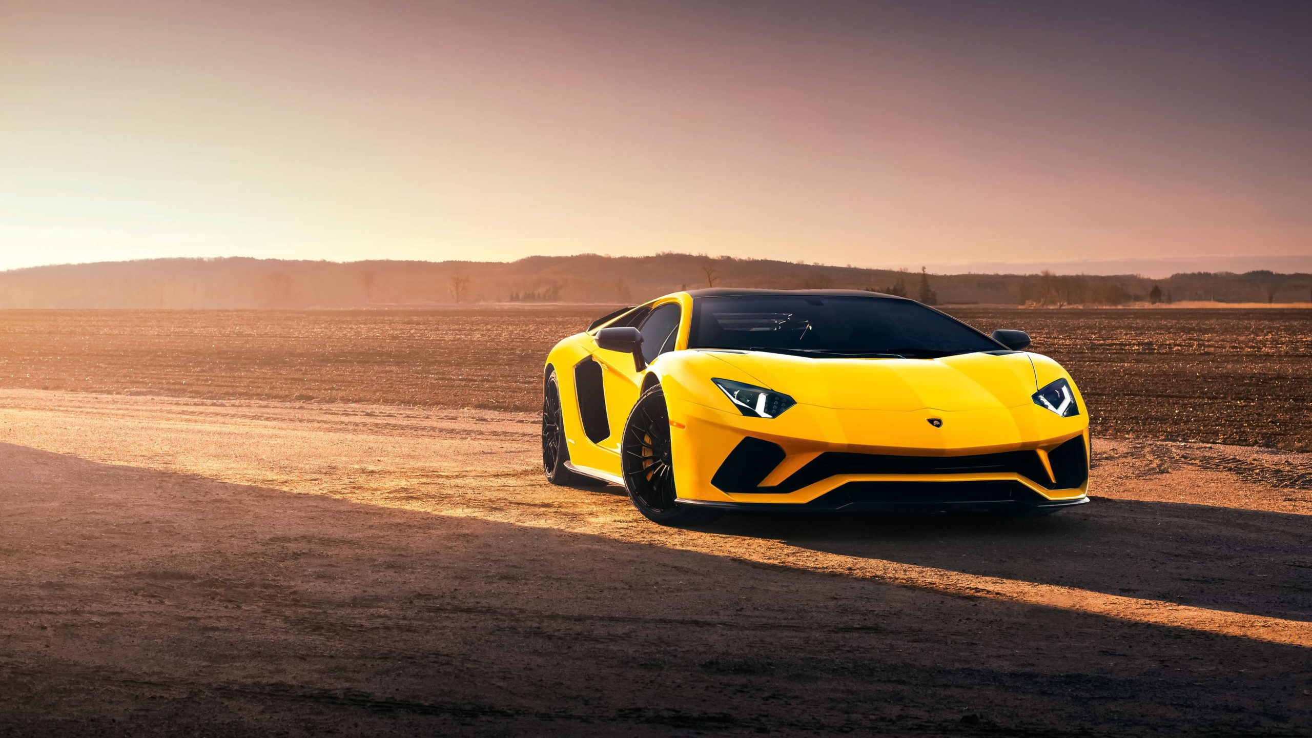 2019 Yellow Series Lamborghini Aventador Background