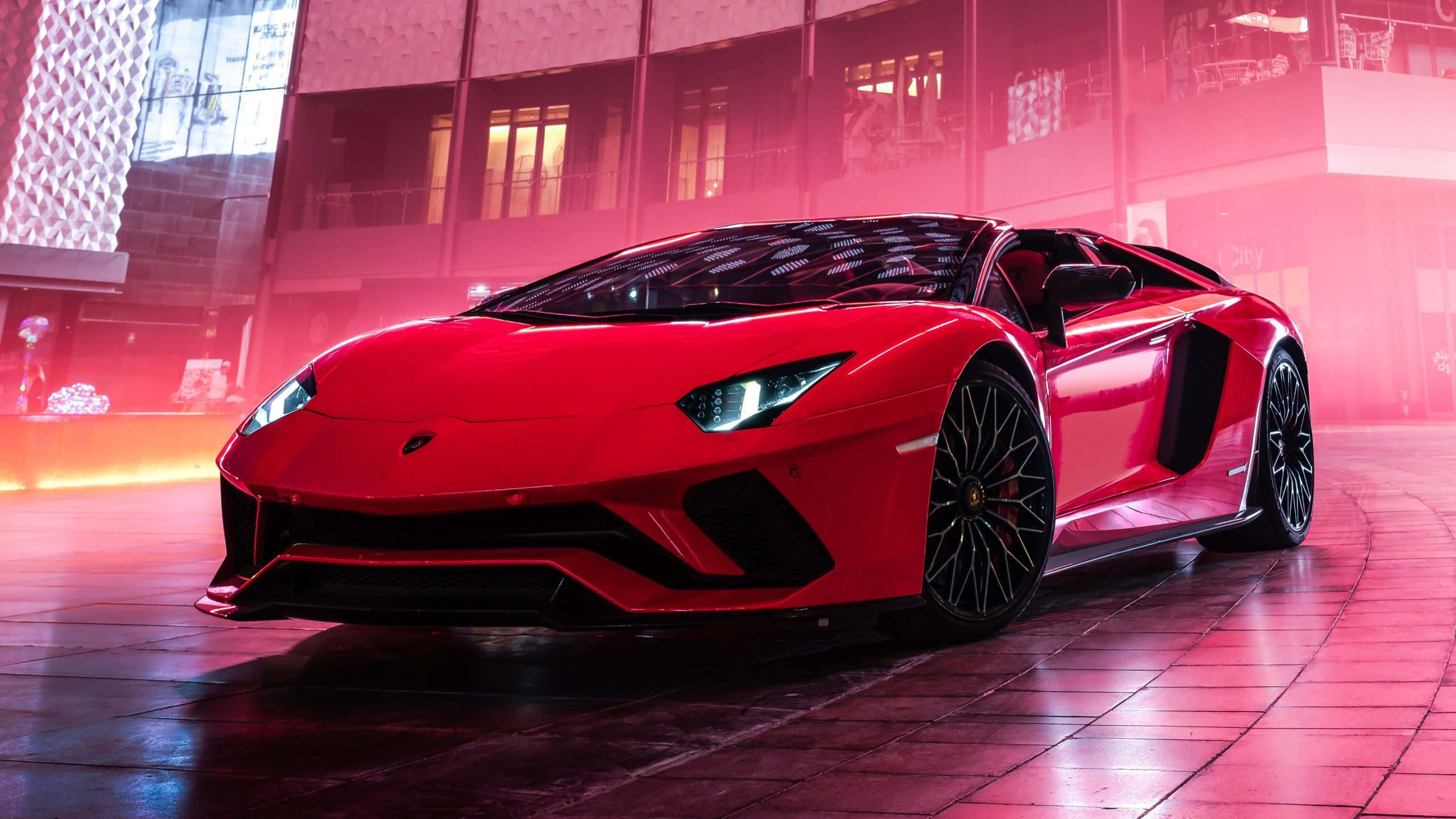 Red Lamborghini Aventador Roadster Car