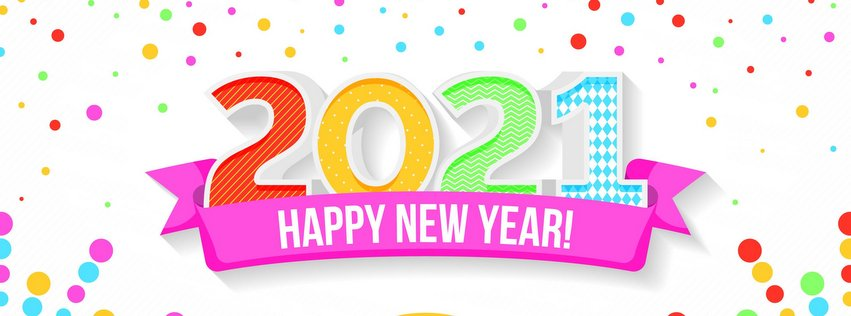 Colorful Happy New Year Facebook Cover Photo 2021