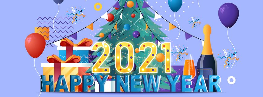 Happy New Year Facebook Cover Photo 2021