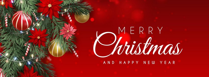 Merry Christmas Facebook Cover Red Background
