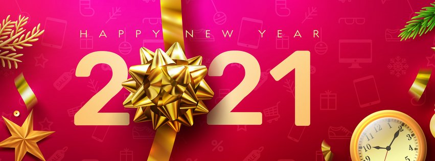 2021 Happy New Year Promotion Poster or banner with golden gift