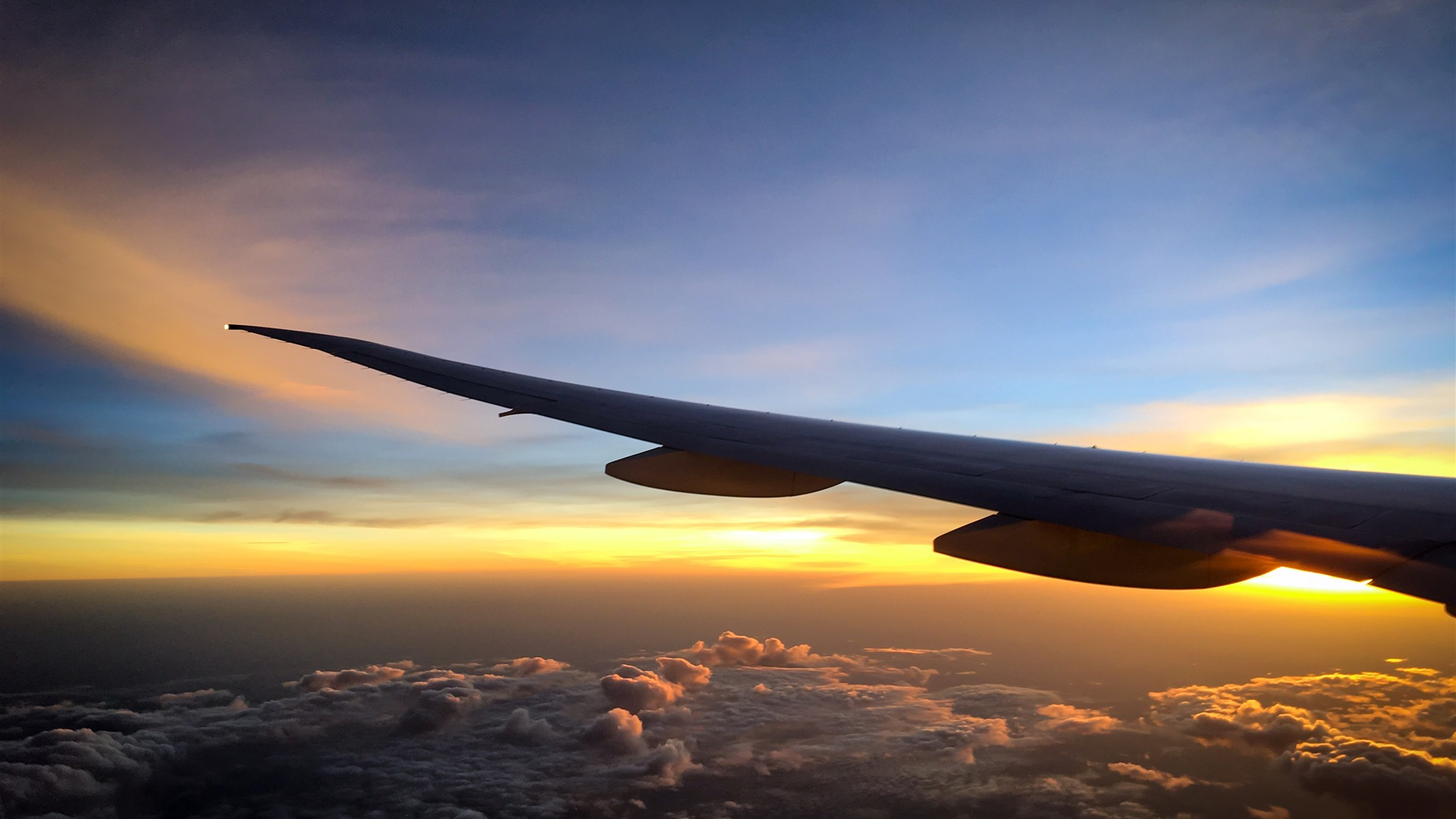 Airplane sunset landscape HD picture 1080p